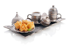 Turkish baklava with coffee Royalty Free Stock Image
