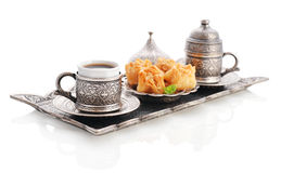Turkish baklava with coffee Royalty Free Stock Photo