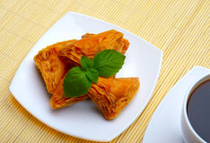 Turkish baklava and cup of coffee Stock Photography