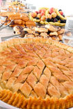 Turkish baklava on a metal plate Royalty Free Stock Images
