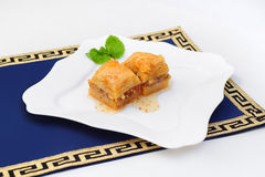Turkish baklava, middle east sweets on white plate Stock Photography