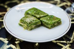 Turkish baklava with pistachios Royalty Free Stock Photography