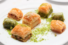 Turkish baklava on a plate Royalty Free Stock Photo