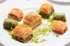 Turkish baklava on a plate Royalty Free Stock Photo