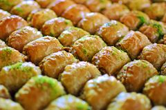 Turkish baklava at the turkish delight store. Royalty Free Stock Image