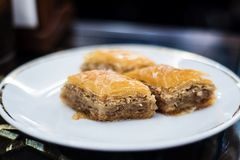 Turkish baklava with walnuts Stock Images