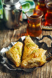 Turkish Baklawa. And cup of tea Royalty Free Stock Image