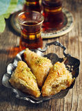 Turkish Baklawa. And cups of tea Royalty Free Stock Photo