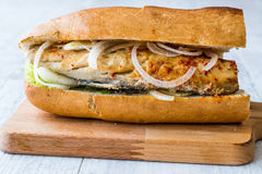 Turkish Balik Ekmek / Fish sandwich. Traditional fastfood stock image