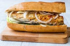 Turkish Balik Ekmek / Fish sandwich. stock image