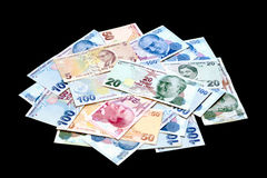 Turkish banknote pile Stock Photography