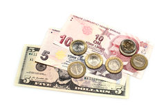 Turkish banknotes & coins Stock Photos