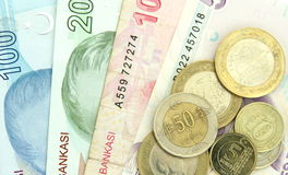 Turkish banknotes and coins Royalty Free Stock Photos