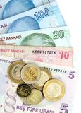 Turkish banknotes and coins Stock Image