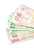 Turkish banknotes. Turkish Lira ( TL )  on white background Royalty Free Stock Image