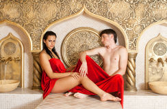 Turkish bath. Young women and young boy in a Turkish bath Royalty Free Stock Images