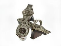 Turkish Bath Clogs. Traditional Turkish Bath Clogs, silver handmade straps attached to bottom wooden part. Using for decorative purposes Stock Image