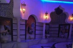 Turkish bath hamam. Interior in Large turkish bath hamam n luxury health spa Royalty Free Stock Photo