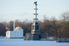 Turkish bath pavilion and the Chesme column in the November evening. Winter in Tsarskoye Selo Royalty Free Stock Photos