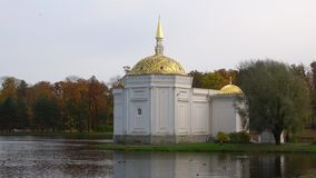 The Turkish bath pavilion closeup, cloud october day. Tsarskoye Selo. The Turkish bath pavilion closeup, cloud october day, Tsarskoye Selo stock video