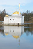 The Turkish bath, pavilion on the Great pond of the Catherine Park, april day. Tsarskoye Selo Stock Photo