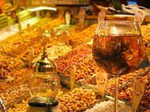 Turkish bazaar shopping nuts and wine Royalty Free Stock Photos