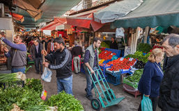Turkish bazaar street view with sellers and buyers Stock Photography