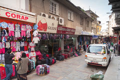 Turkish bazaar street view with sellers and buyers walking Stock Image