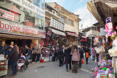 Turkish bazaar street view with sellers and crowd of buyers Royalty Free Stock Photography
