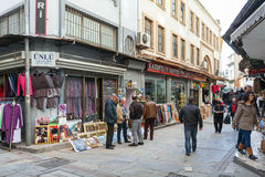 Turkish bazaar view with sellers and walking buyers Royalty Free Stock Images