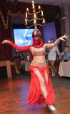 Turkish Belly Dancer. Turkish dancer in the traditional garments performs at the private event stock images