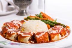 Free Turkish Beyti Kebap Garnished With Vegetables Royalty Free Stock Photo - 35138695