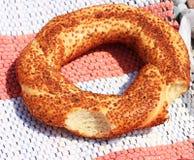 Turkish bitten bagel simit Stock Photo