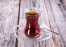 Turkish Black Tea. Wood background Stock Image
