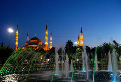 Turkish Blue mosque in Istanbul at night Royalty Free Stock Image