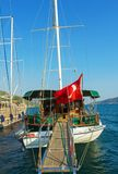 Turkish boat for rent. Turkish boat with a gangplank put down waiting for tourists to rent it Stock Photography
