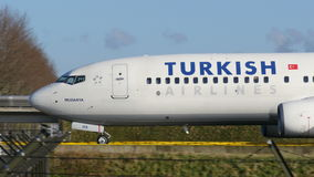 TURKISH Boeing B737 Taxi at schiphol netherlands stock video footage