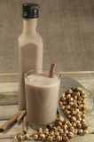 Turkish Boza and chickpea. On wood place Royalty Free Stock Image