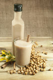 Turkish Boza and chickpea. On wood place Royalty Free Stock Photo