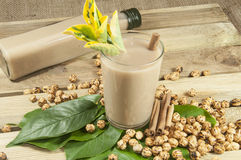 Turkish Boza and chickpea. On wood place Royalty Free Stock Images