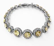 Turkish bracelet. Beautiful Turkish silver bracelet with gemstones Stock Images