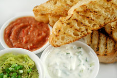 Turkish Bread And Dips 1. Delicious and colorful trio of dips with grilled Turkish bread royalty free stock photo