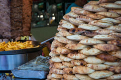 Turkish bread, lavash, pide pile with potato chips and kebab Royalty Free Stock Images