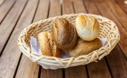 Turkish bread rolls in a wicker basket Royalty Free Stock Photos