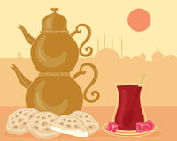 Turkish bread and tea Royalty Free Stock Photography