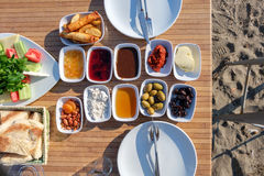 Turkish breakfast of the beach. Of Marmaris Royalty Free Stock Images