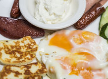 Turkish breakfast with eggs, borek and yoghurt Royalty Free Stock Photography