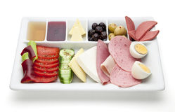 Turkish  breakfast. Image is posed on white background Royalty Free Stock Photos
