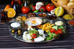 Turkish Breakfast. Rich and delicious breakfast table Royalty Free Stock Image