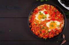 Turkish Breakfast - shakshuka. Fried eggs. Brunch. Turkish Breakfast -  shakshuka. Fried eggs. Brunch. Top view royalty free stock images